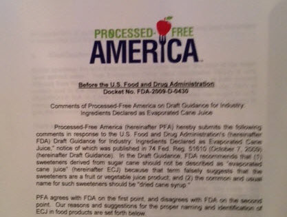 """Processed-Free America Tells FDA """"Evaporated Cane Juice"""" is a Misleading Term"""
